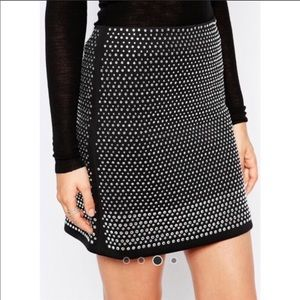 French Connection Diamond Rock Embellished Skirt